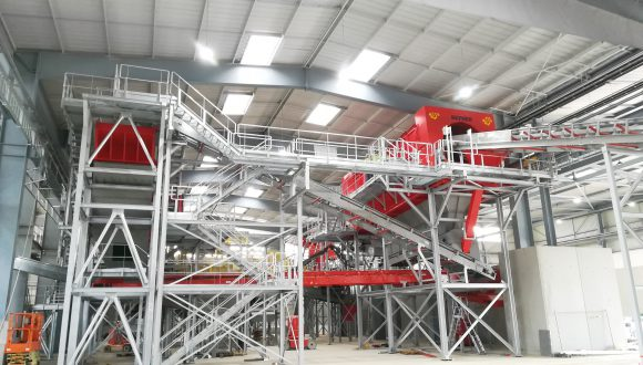 steel chassis for recycling installation