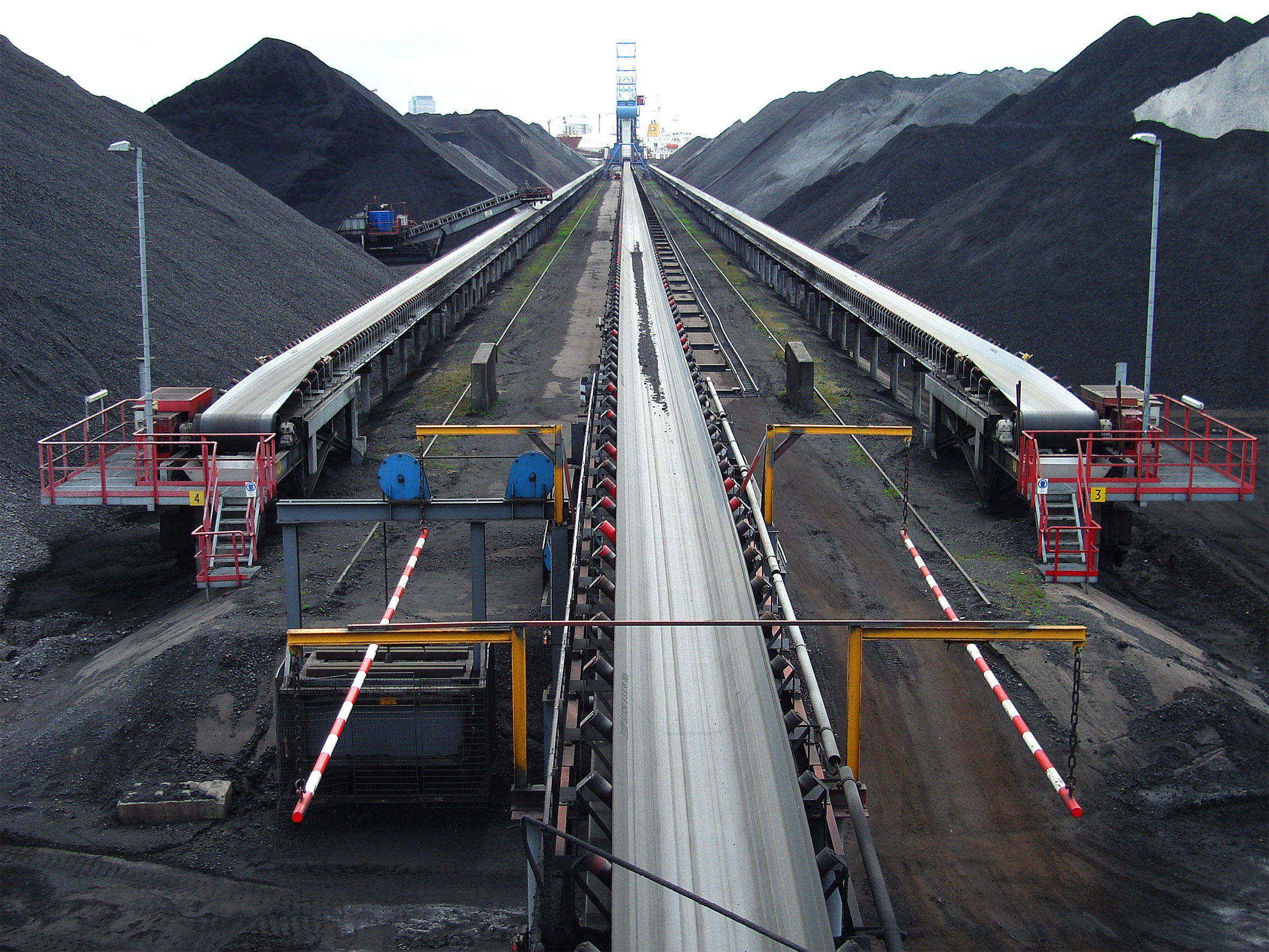 Coal transshipment conveyors